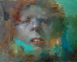 "Thomas S. Buechner ""Face"" 8x10 oil $1970."