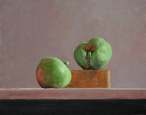 "Thomas S. Buechner ""Apple Chat"" 8x10 unframed oil $1,870."