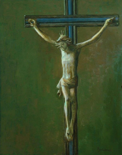 "Thomas S. Buechner ""Bavarian Crucifix"" 20x16 oil framed $3,300."