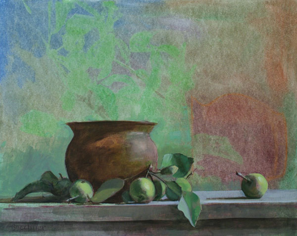 "Thomas S. Buechner ""Bronze Bowl and Apples"" 16x20 oil $3,320. framed"