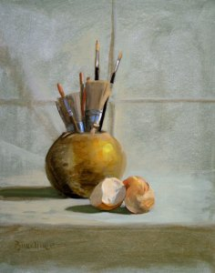 "Thomas Buechner ""Brushes and Brass Bowl"" 20x16 oil $3,390."
