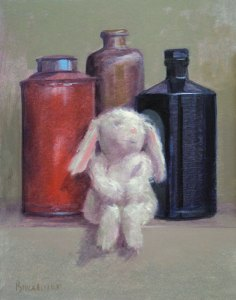 """Thomas S. Buechner """"Bunny and Bottles"""" 14x11 oil $2,570. framed"""