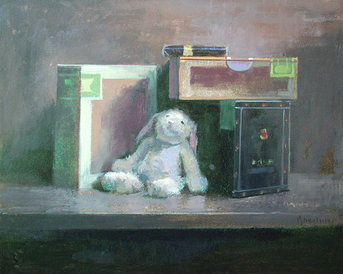 "Thomas Buechner ""Cigar Box and Bunny"" 16x20 oil $3,390."