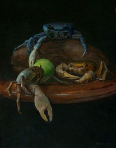 "Thomas S. Buechner ""Great Blue Crab"" 14x11 oil framed $2,500."