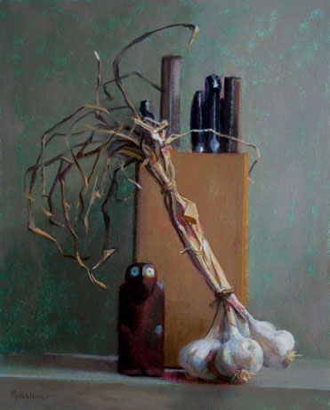 "Thomas S. Buechner ""Knife Box"" 20x16 oil framed $3,300."