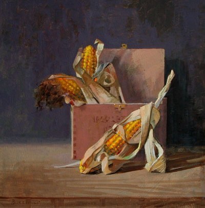 "Thomas S. Buechner ""Old Corn"" 16x16 oil $3,200."