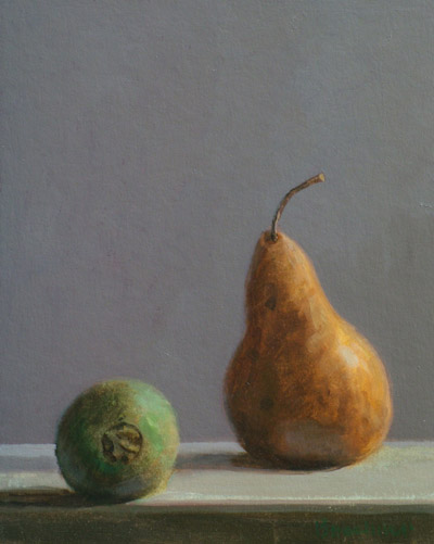 "Thomas S. Buechner ""Pear and Kiwi"" 10x8 oil $1,970."
