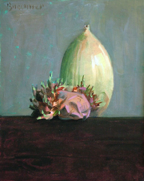 "Thomas S. Buechner ""Sprouted Potato and Onion"" 10x8 unframed oil $1,870."