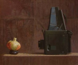 """Thomas S. Buechner """"The Sitting (Camera and Onion)"""" 20x24 oil $4,490."""