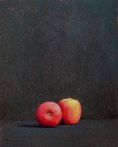 "Thomas S. Buechner ""Two Apples Alone"" 20x16 oil $3,390."