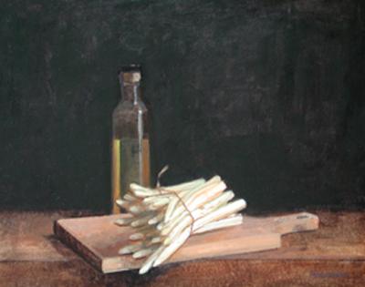 """Thomas S. Buechner """"White Asparagus"""" 14x18 oil framed $3,100."""