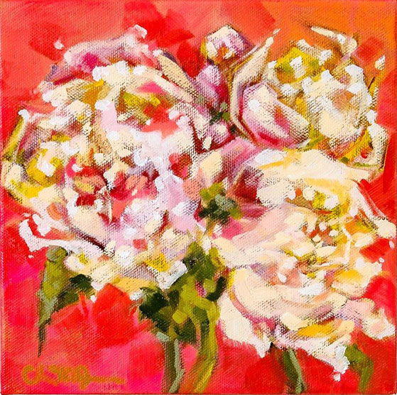 "Christina Johnson ""Peony Power"" 8x8 oil on gallery wrapped canvas $150."