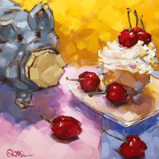 "Christina Johnson ""Queen Mossandra's Cherry Cupcake"" 8x8 oil $150."