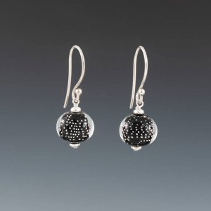 "Becky Congdon ""Black Sparkling Earrings - Earwires"" handmade flamework beads with SS components $95. Inquire on availability"