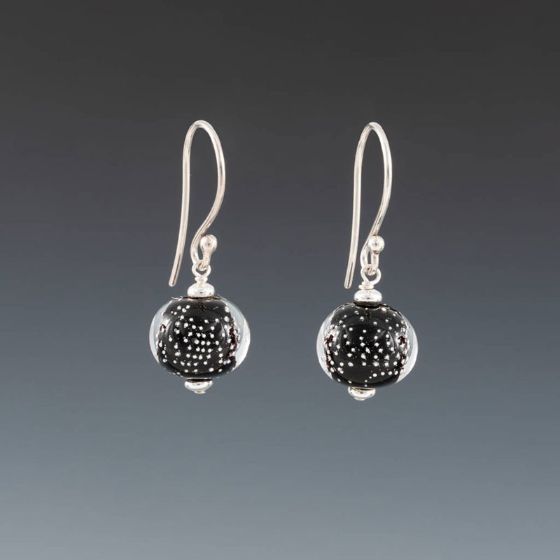 "Becky Congdon ""Black Sparkling Earrings - Earwires"" handmade flameworked glass beads with sterling silver findings $38. Inquire on availability"