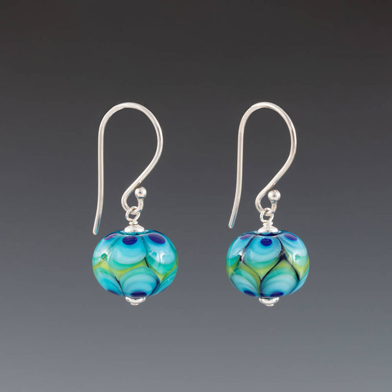 """Becky Congdon """"Modern Green Leaves Earrings"""" handmade flameworked glass beads with sterling silver findings $38. Inquire on availability"""
