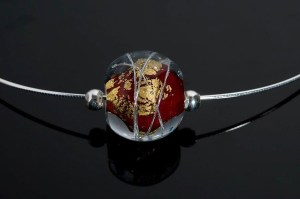 """Becky Congdon """"Red Cosmos Omega"""" handmade flamework beads with SS components $95.SOLD (photo by Ann Cady)"""