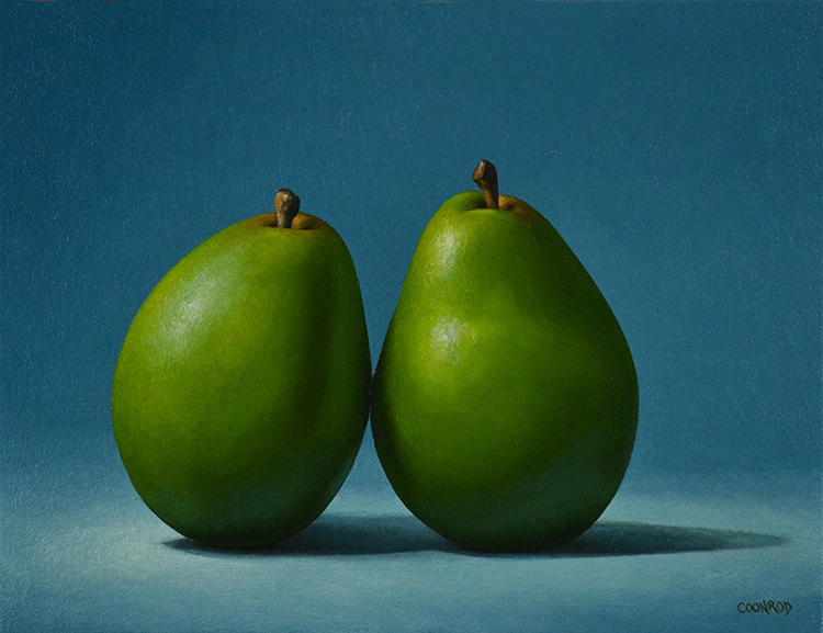 "Trish Coonrod ""Pears on Blue"" 9x12 oil/linen on panel $895."