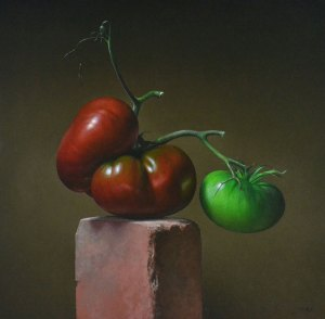 """Trish Coonrod """"2 Tomatoes"""" 20x20 oil on canvas $3,520."""