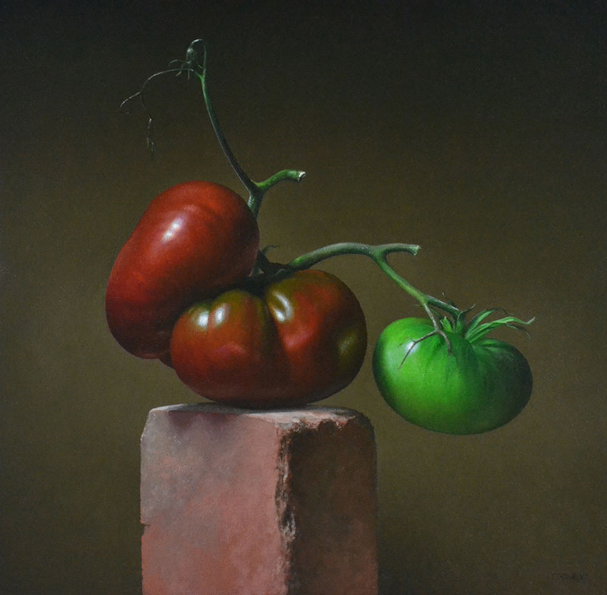 "Trish Coonrod ""2 Tomatoes"" 20x20 oil on canvas $3,520."