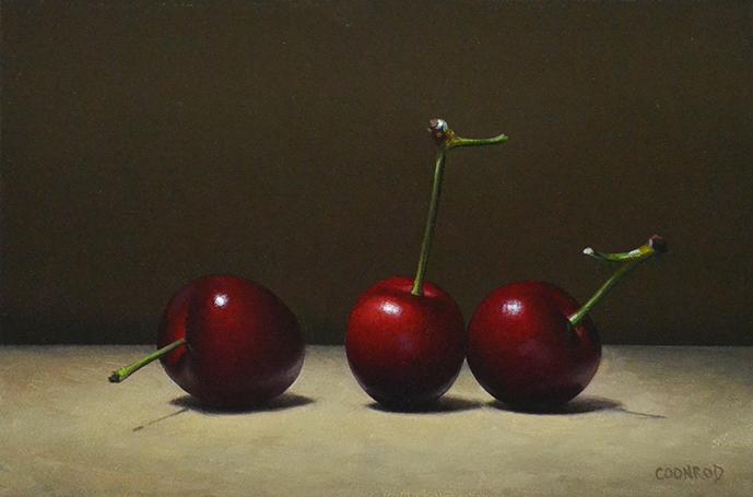 """Trish Coonrod """"3 Black Cherries"""" 6x9 oil/aluminum panel $635. SOLD"""