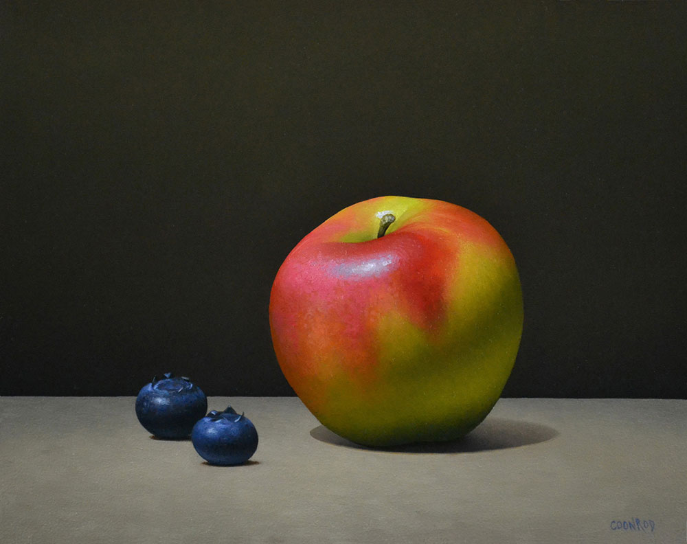"Trish Coonrod ""Apple and 2 Blueberries"" 8x10 oil on aluminum composite material $1,125."