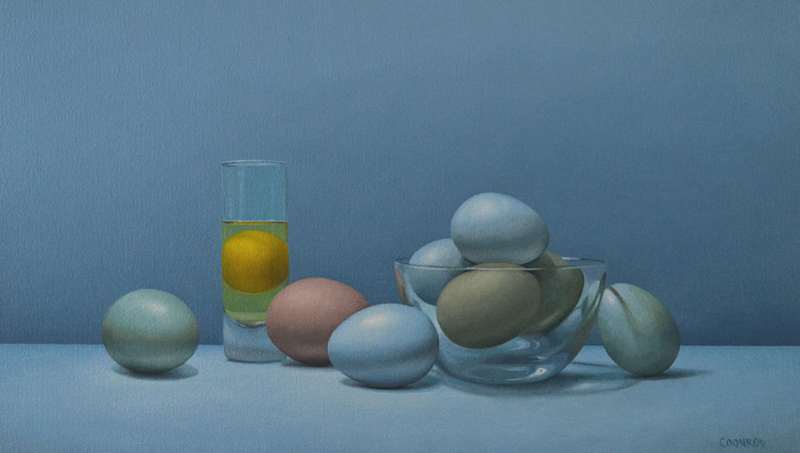 "Trish Coonrod ""Still Life with Eggs and Shot Glass"" 14x24 oil/c $2,175."