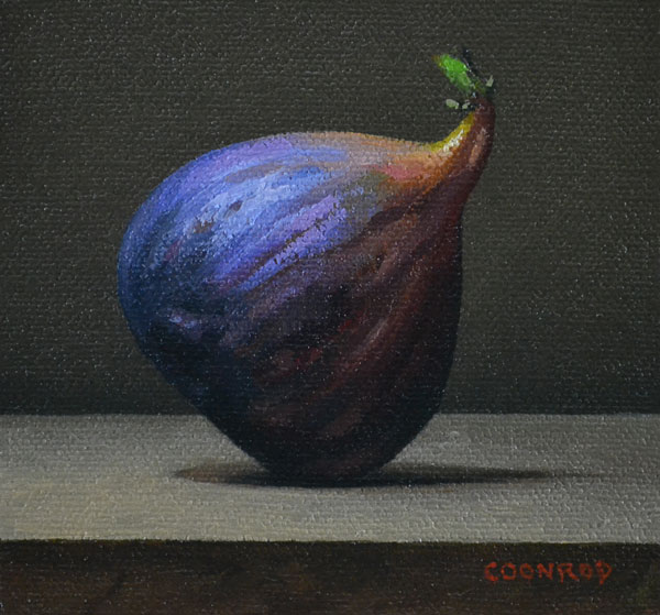 "Trish Coonrod ""Fig"" 4x4 oil $325. SOLD"