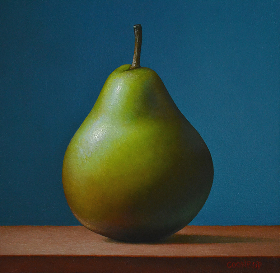 """Trish Coonrod """"Forelle Pear - On Blue"""" 6x6 oil on aluminum composite material $850."""