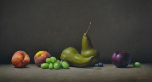 """Trish Coonrod """"Still life with Grapes and Peaches"""" 15x28 oil $2,985."""