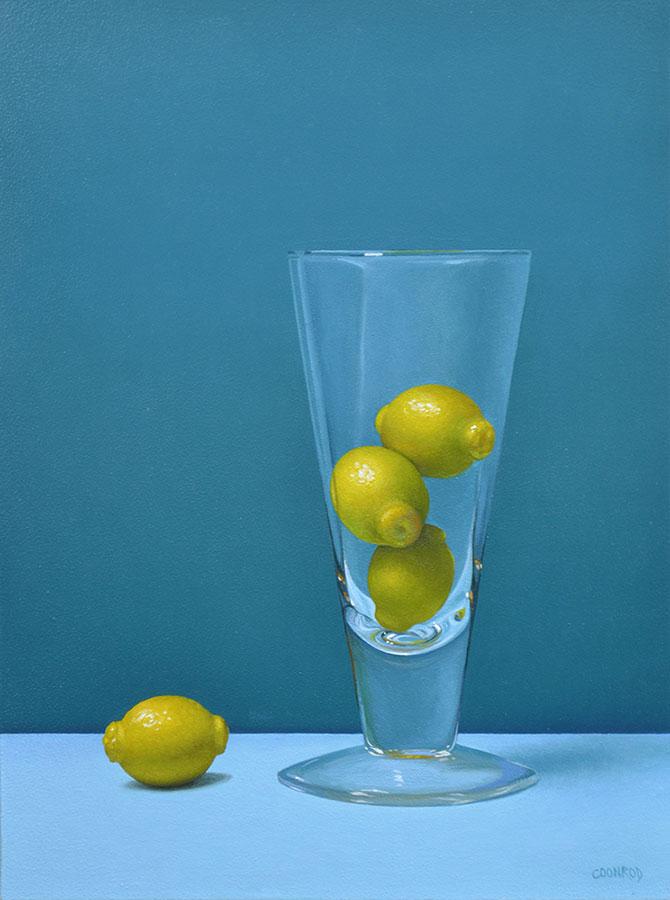 """Trish Coonrod """"Lemon Gumballs"""" 12x9 oil on aluminum composite material $1,300."""