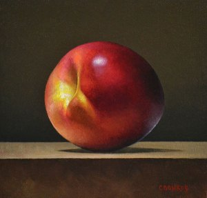 "Trish Coonrod ""Nectarine"" 6x6 oil $450."