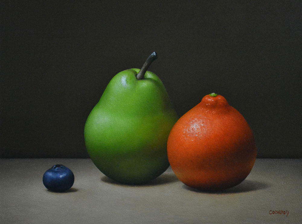 "Trish Coonrod ""Pear, Minneola and Blueberry"" 8x10 oil on aluminum composite material $1,125."