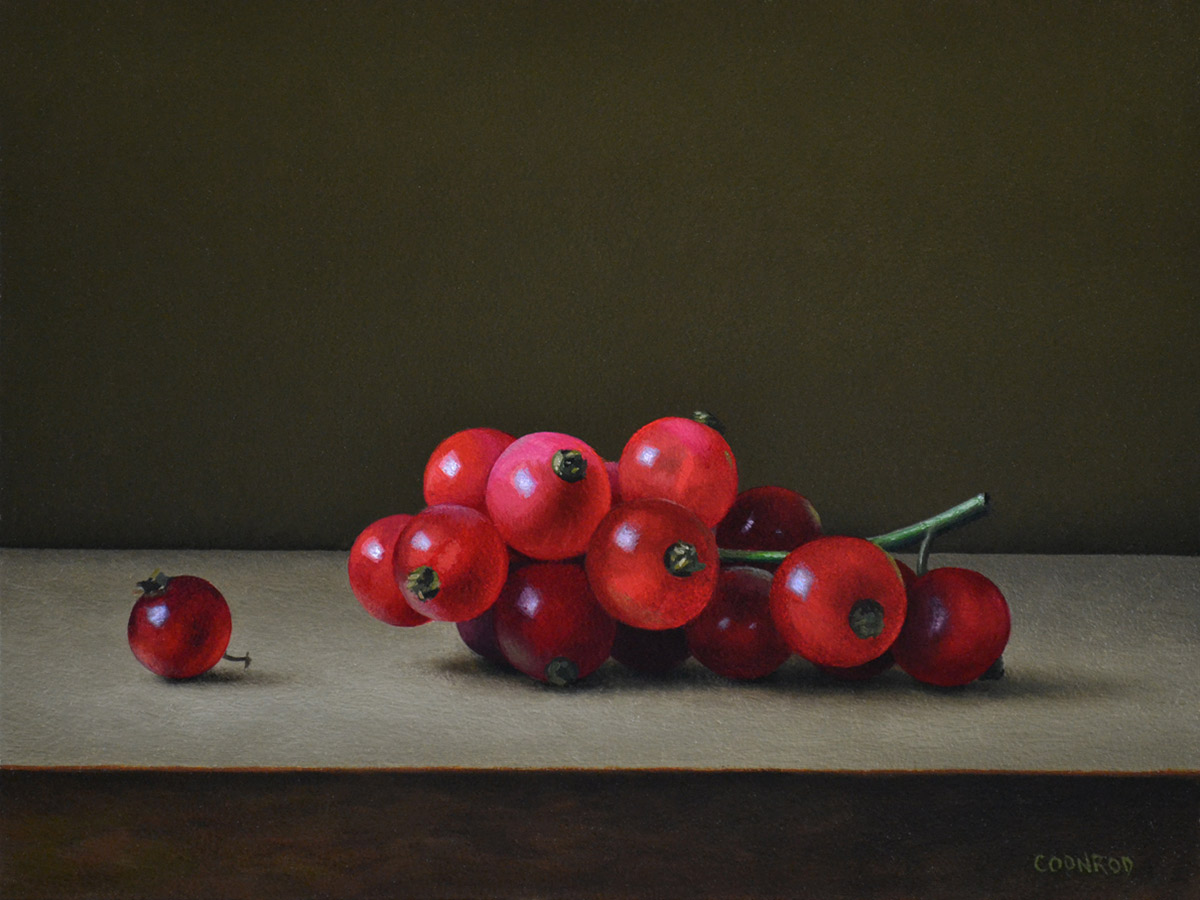 """Trish Coonrod """"Red Currants"""" 6x8 oil $1,000."""