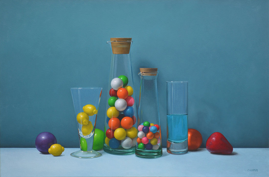"Trish Coonrod ""Still Life with Gumballs and Kool-Aid"" 20x30 oil on canvas $4,750."