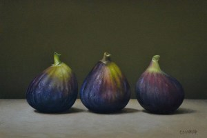 "Trish Coonrod ""3 Figs"" 6x9 oil on aluminum composite material $950."