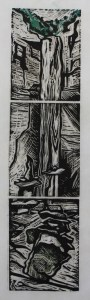 "Cynthia Cratsley ""Cairns at Taughannock"" 12x3 signed and numbered linocut $180. Inquire on availability"