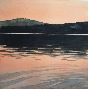 "Cynthia Cratsley ""Cowanesque Lake"" 6x6 watercolor $195."