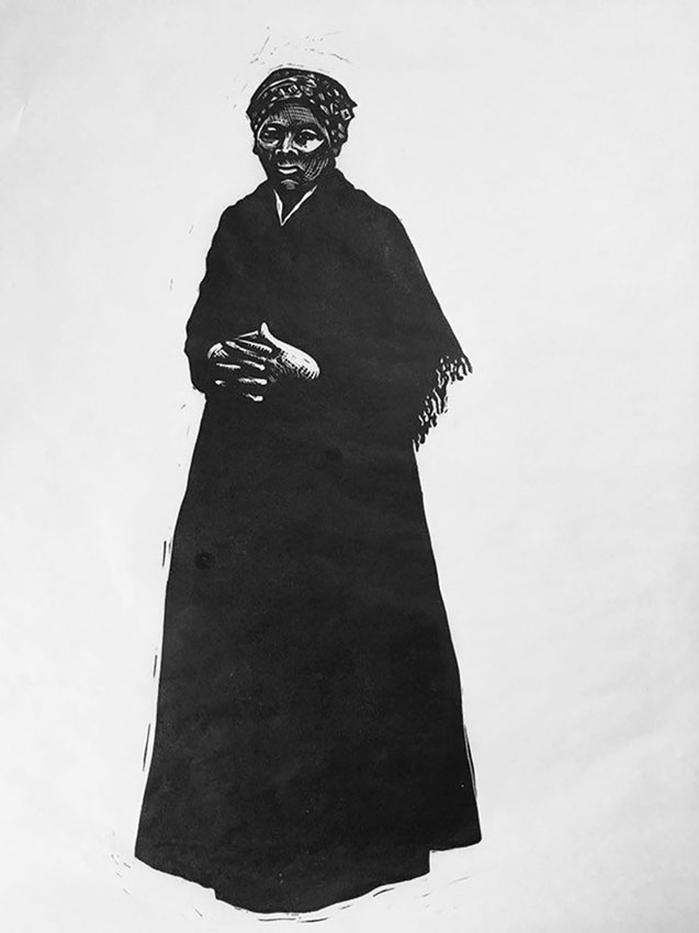 "Cynthia Cratsley ""Harriet Tubman"" 18x10 linocut $275. Inquire"