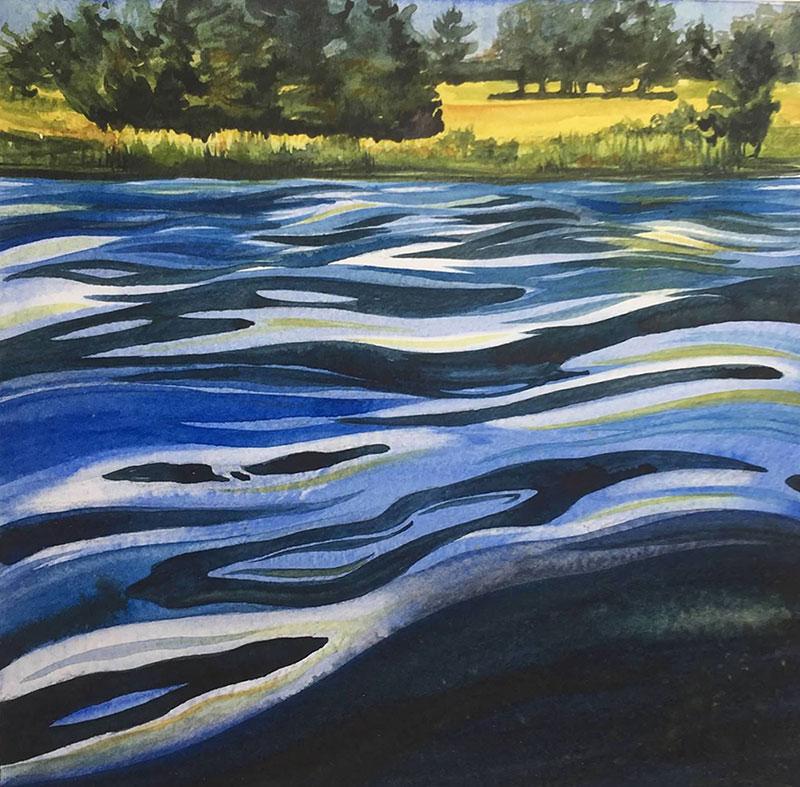 "Cynthia Cratsley ""Surface Tension"" 6x6 watercolor $195."