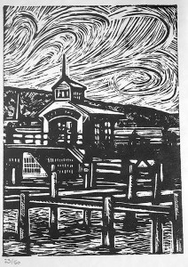 """Cynthia Cratsley """"The Pier at Watkins Glen"""" 8x6 Limited edition linocut $125. Inquire"""