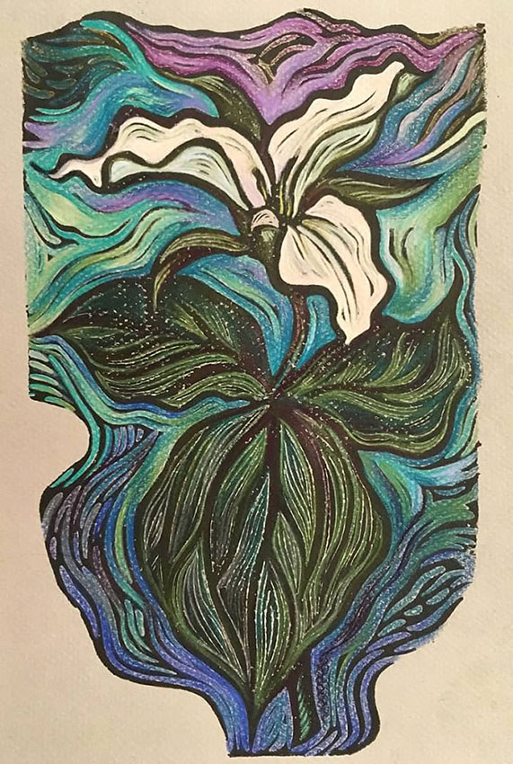 "Cynthia Cratsley ""Trillium"" 10x6 linocut w/colored pencil $225."
