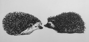 "Cynthia Cratsley ""Uncommitted Hedgehogs in Love"" linocuts framed"