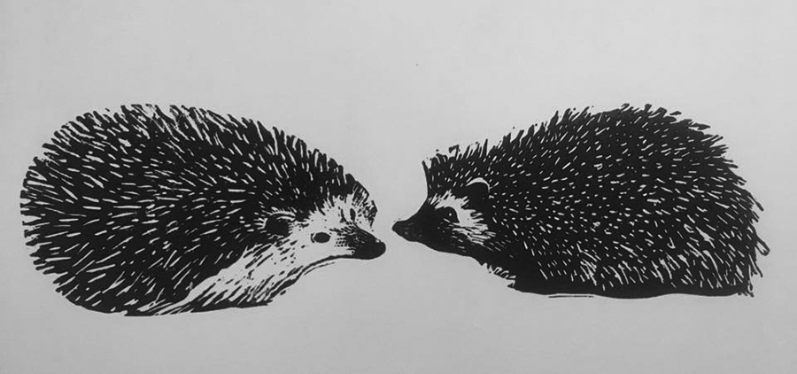 "Cynthia Cratsley ""Uncommitted Hedgehogs in Love"" linocuts framed individually. Inquire"