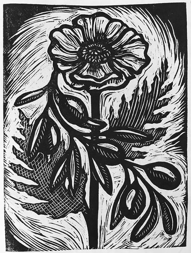 "Cynthia Cratsley ""White Poppy with Olive Branch"" 5.5x4 linocut $160."