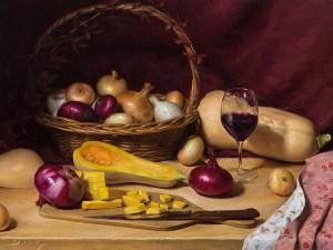 "Joseph Q. Daily ""Autumn Table"" 18x24 oil $2,700."
