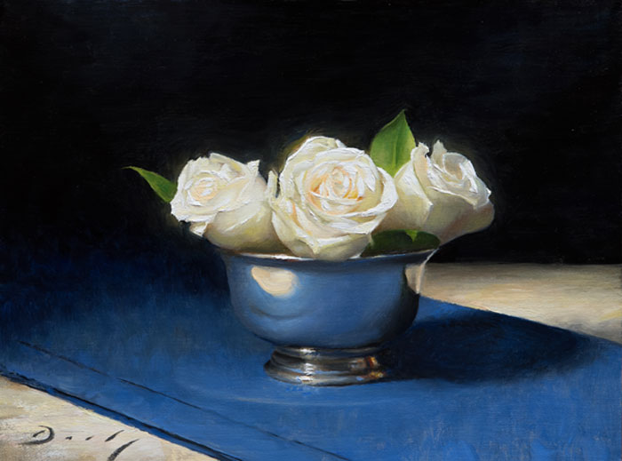 "Joseph Q. Daily ""New Year's Roses"" 12x16 oil $1,300. SOLD"