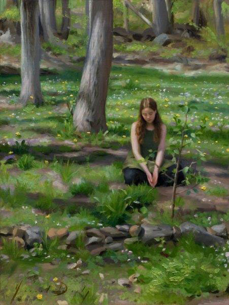 "Joseph Q. Daily ""Sowing Seeds"" 16x12 oil $1,600."