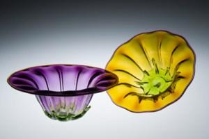"Ross Delano 'Manly Flower Bowls"" blown glass sculpture"