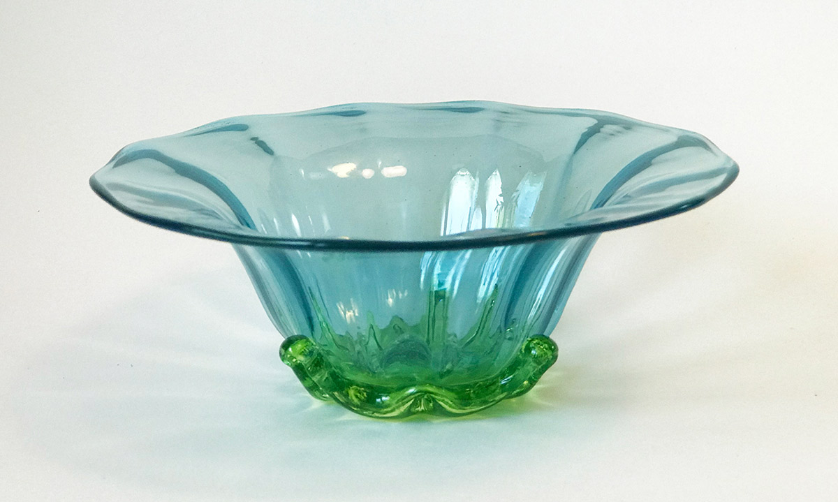 "Ross Delano ""Sissy Flower Bowl"" (Blue) approx. 5""x3"" blown glass $60."